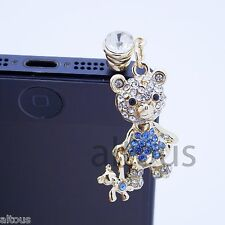 ANTI DUST PLUG CHARM BLUE TEDDY BEAR FOR APPLE SAMSUNG HTC MOTOROLA HUAWEI ZTE