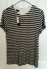 Talbots Womens Black White Striped Shirt Sz Med Short Sleeve Sequins NWT