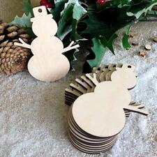 10x Blank Wooden Snowman Gift Tags Cutout Unfinished Craft Xmas Tree Decor