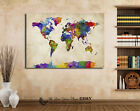 World Map Stretched Canvas Print Framed Office Home Decor Wall Art Painting Gift