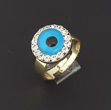 Nazar Boncuk Evil Eye Ring 18 Karat Gold GP Goldring Blue Eye Yüzük Verstellbar