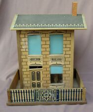 """Antique 14"""" Tall Wood Doll House In Box With Yard"""