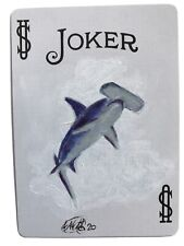 Aceo Original painting Shark Fish art Painted Playing Card Listed By artist Usa