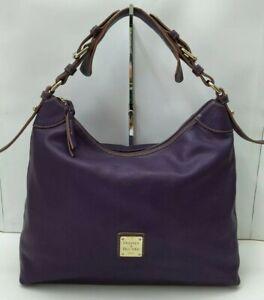 Dooney & Bourke Purple Pebbles Leather Silver Logo Large Hobo Shoulder Bag Purse