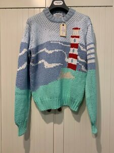 Thom Browne Lighthouse Scene Cotton Sweater, S