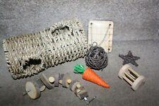More details for 7 piece wooden chew pet pets toys for hamster rabbit gerbils guinea pig rat