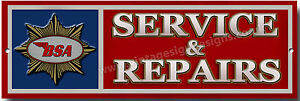 BSA SERVICE & REPAIRS METAL SIGN - OFFICIALLY LICENSED B.S.A PRODUCT. © &™ BSA.