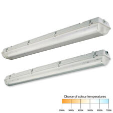 T8 Fluorescent Batten Fitting Single or Twin IP65 Non Corrosive 2ft 4ft 5ft 6ft