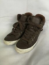 Converse All Star Chuck Taylor Brown Leather High Tops Unisex UK Size 9 Trainers