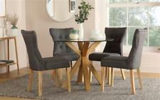 Hatton Round Oak and Glass Dining Table with 4 Bewley Slate Chairs
