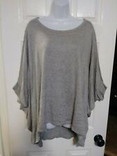 3X/4X PLUS SIZE ANDREE BY UNIT SOFT KNIT BATWING HI-LOW OVERSIZED TOP GRAY