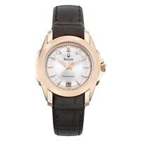 Bulova Women's Quartz Rose Gold Case Leather White Dial 29mm Watch 97M104
