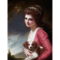 Romney Portrait Lady Hamilton Dog Painting Canvas Art Print Poster