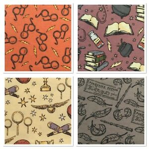 Harry Potter Fat Quarters Fabric Glasses Snitch Potions spells 100% Cotton