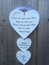 Fatto a mano personalizzata in LEGNO Segno Di Placca Cuore Anniversario Di Matrimonio Regalo
