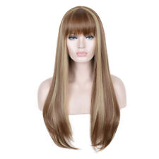Long Ombre Brown Blonde Highlights Hair Natural Straight Wig With Bangs Wigs