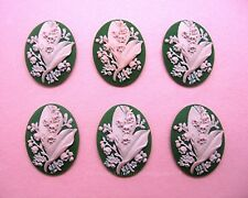 on Green 40mm x 30mm Cameos for Crafts 6 Pink color Lily of the Valley Flower