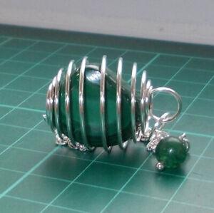 Auction Silver Plated Spiral Cage Pendulum with Malachite Tumblestone