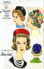 c4be2d1bdc3 Vogue 5352 Sally Victor Pillbox Hat Cap Fabric Sewing Pattern Chemo  Alopecia 22