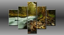 """LARGE FOREST STREAM ROCK GREEN CANVAS WALL PICTURE FLASH ART 40"""" 28"""" 0047/5"""