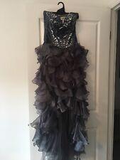 Sherri Hill Grey Gown size 2 full length beaded bodice tulle skirt