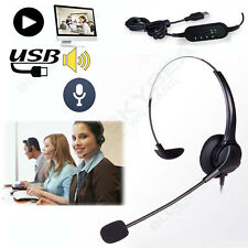 USB Call Customer Service Telephone Headset Mounted Mic Earpiece Speaker AA2