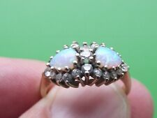 SUPERB 9CT GOLD OPAL & WHITE SAPPHIRE  RING SIZE N½