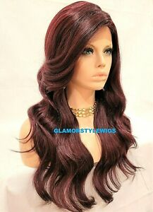 HUMAN HAIR BLEND LACE FRONT FULL WIG LONG WAVY OFF BLACK BURGUNDY MIX NWT