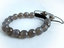 Men's beaded Macrame bracelet Jewelery all 10mm GREY glass beads gift for him