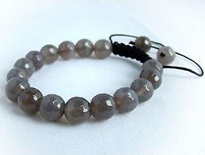Men's beaded Macrame bracelet Jewelery all 10mm GREY glass beads gift for him