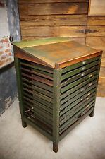 Antique Printers Cabinet Vintage Printing Press Blocks Drawers Desk Typeset Shop