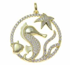 YELLOW GOLD SILVER 925 BLING CZ HAWAIIAN STARFISH SEAHORSE SHELL CIRCLE PENDANT