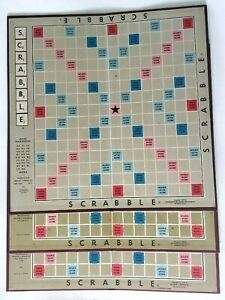 """3 Vintage Scrabble Board Lot 14"""" Craft Game Scrapbooking Shabby Chic Country"""