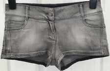 ZADIG & VOLTAIRE Kids Girls Grey Cotton Stretch Distressed Denim Hot Pants Short