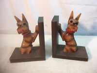 VTG Mid Cent Book End Pair BROWN WOOD GLASS EYE SCOTTY DOG Figure Japan
