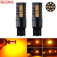 No Resistor Amber Yellow 7440 T20 W21W WY21W LED Bulbs Turn Signal Lights Canbus