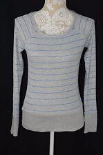 Divided H&M Womens 12 Gray Blue Striped Long Sleeve Crewneck Shirt Top Soft