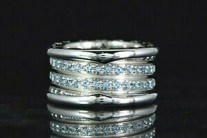 Bvlgari B.zero1 18K White Gold Round Aquamarine 4 Row Ring Band #53 Size 6.25