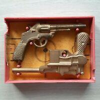 Rare Vintage Ussr Russian Soviet Toy Toys Small Pistols Gun Revolver Weapons