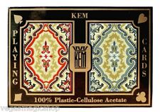 KEM Paisley Plastic Playing Cards 2 Deck Set Blue Red Narrow Bridge Size + Case
