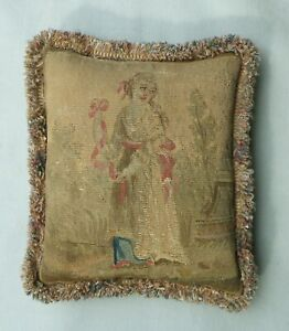Antique 18th Century French Aubusson Tapestry Boudoir Cushion /Pillow.