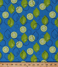 Limes Citrus Fruit Food Kitchen Culinary Blue Cotton Fabric Print BTY D768.17