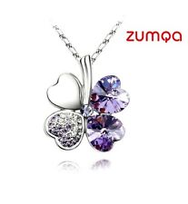 4 leaf Shaped clover Necklace By ZUMQA (Silver Dark Purple)