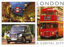 Postcard: London - Verkehrsmittel: Taxi, Bus und U-Bahn (Underground Subway)