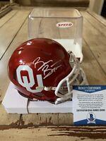 Brian Bosworth Autographed/Signed Mini Helmet Beckett Oklahoma Sooners