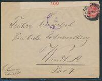 DSWA 1918, aptierter LUDERITZBUCHT auf Zensurbrief! Putzel Nr. B 9 und 10!!