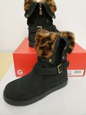 $59 G By Guess Amaze Womens Size 6 Black Textile Faux Suede Winter Boots