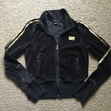 Victoria's Secret Angel Velour Full Zip Jacket Black Gold Size Medium