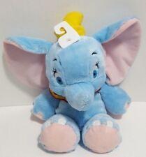 "Disney Baby Dumbo Plush 12"" Lovey Soft Beanie Elephant Blue Yellow Hat NEW"