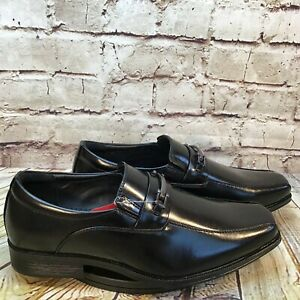Dexter Mens Black Bicycle Toe Horse Bit Slip On Dress Shoes Loafers Wide Fit 8.5